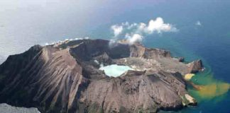 Whakaari/White Island, New Zealand. On December 9, 2019, several Australians were among the dozens of tourists who were killed, injured, or went missing when the volcano erupted. Credit: Rfleming/public domain.