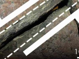 Fault zone with broken rock inside stippled lines and faulting directions of each rock segment outlined by half arrows. Photo credit: Henrik Drake. Illustration: Mikael Tillberg.