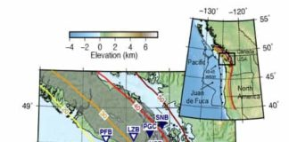 A map of Vancouver Island showing the locations of seismic instruments considered by the research group. The grey shaded region delineates where slow earthquakes occur.