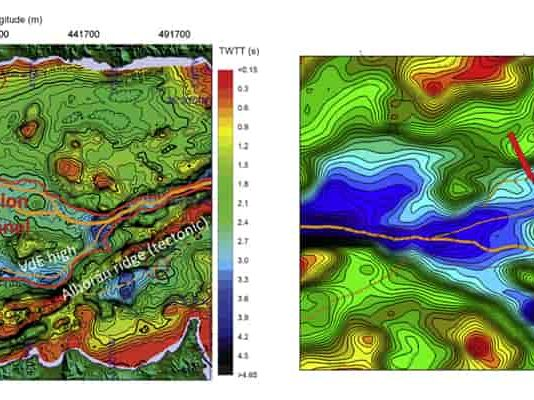 Isobath map of the eastern Alborán basin with the volcanic edifice location. Orange lines show the main flood paths. (Image: García-Castellanos et al, 2020, Earth-Sciences Reviews)