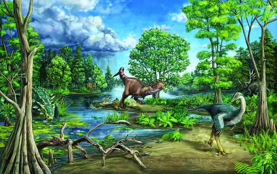 This mural was originally made for a recent Royal Ontario Museum exhibit about a fossil ankylosaur named Zuul crurivastator. That fossil is found within a couple of meters stratigraphically/temporally of the site described in this paper. The last author on the study, David Evans, is the dinosaur curator at the Royal Ontario Museum and was also involved in the description of Zuul and design of that exhibit. Credit: Danielle Dufault, Royal Ontario Museum.
