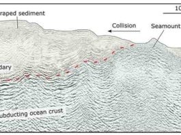 The SHIRE project, which contributed resources to this research, is investigating seamounts within the Hikurangi Trench, to learn how they generate or dampen earthquakes at different stages of subduction. This seismic image shows a seamount known as Puke Seamount, colliding with New Zealand. Image: SHIRE/Andrew Gase.