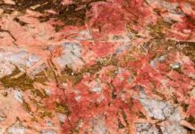 Bastnaesite (the reddish parts) in Carbonatite. Bastnaesite is an important ore for rare earth elements, one of the mineral commodities identified as most at-risk of supply disruption by the USGS in a new methodology. Credit: Scott Horvath, USGS