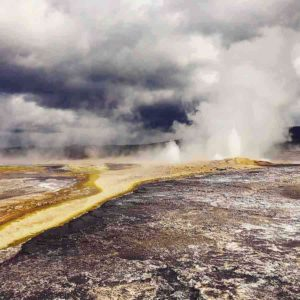 Geysers in Yellowstone National Park attest to the presence of a supervolcano, which is currently dormant. An eruption of this explosive volcano would impact the entire planet. Credit: © P.H. Barry
