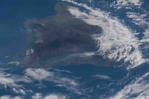 The ash plume from the Kilauea volcano on the big island of Hawaii was pictured May 12, 2018, from the International Space Station. Credit: NASA