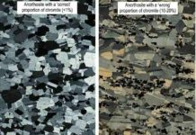 Photomicrographs showing anorthosites with 'correct' and 'wrong' proportions of chromite from the Bushveld Complex, South Africa. Credit: Wits University
