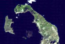 Minoan eruption of Thera. Satellite image of Thera, November 21, 2000. Credit: NASA, public domain