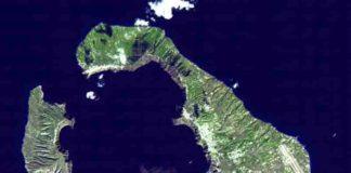 Minoan eruption of Thera. Satellite image of Thera, November 21, 2000. Credit: NASA, public domain