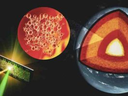 Researchers developed a technique that allows them to study the atomic arrangements of liquid silicates at the extreme conditions found in the core-mantle boundary. This could lead to a better understanding of the Earth's early molten days, which could even extend to other rocky planets. Credit: Greg Stewart/SLAC National Accelerator Laboratory