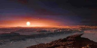 This artist's impression shows a view of the surface of the planet Proxima b orbiting the red dwarf star Proxima Centauri, the closest star to the Solar System. The double star Alpha Centauri AB also appears in the image to the upper-right of Proxima itself. Proxima b is a little more massive than the Earth and orbits in the habitable zone around Proxima Centauri, where the temperature is suitable for liquid water to exist on its surface. (Illustration by ESO/M. Kornmesser)