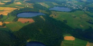 Three water-filled maars in the Eifel, Germany (Gemündener Maar, Weinfelder Maar, Schalkenmehrener Maar). Created by volcanic activity, maars are also found in other parts of Europe and on other continents, but Eifel-Maars are the classic example worldwide.