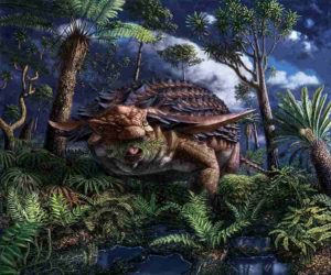 Illustration of Borealopelta markmitchelli dinosaur by Julius Csotonyi. Credit: © Royal Tyrrell Museum of Palaeontology