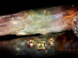 zultanite gemstones, rough and crystal form lighting