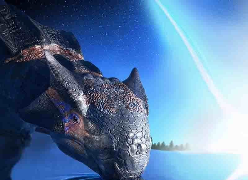 An individual of Ankylosaurus magniventris, a large armoured dinosaur species, witnesses the impact of an asteroid, falling on the Yucatán peninsula 66 million years ago. Not even its large size and thick armour sheltered its kind from the violence of this cosmic disaster. Credit: Fabio Manucci