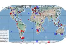 "268 seismometers (red) in 117 countries detected a drop on seismic noise. ""Global quieting of high-frequency seismic noise due to COVID-19 pandemic lockdown measures"" by Thomas Lecocq et al., published Thursday 23 July 2020 in Science Credits:Photo of seismometer: Stephen Hicks/Imperial College London"