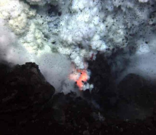 An Underwater Volcanic Eruption. Credit: NSF and NOAA