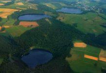 Three water-filled maars, created by volcanic eruptions, in Germany's Eifel region. Credit: Martin Schildgen/Wikimedia Commons