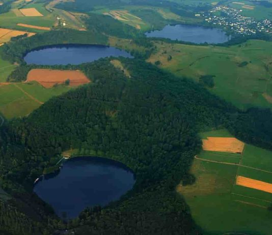 Three water-filled maars, created by volcanic eruptions, in Germany's Eifel region. Credit: Martin Schildgen/Wikimedia Commons