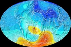 Map of the Earth showing the present-day deviation from expected magnetic field direction. The star is Saint Helena