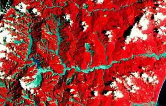 False color satellite image of the Taimali catchment area in southeastern Taiwan in August 2009 after typhoon Morakot. Red: vegetated surface, grey: barren surface (Image: LANDSAT-7 / NASA, JPL).