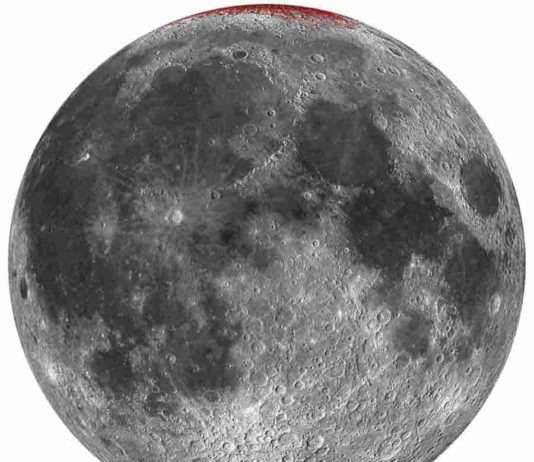 Enhanced map of hematite (red) on Moon using a spheric projection (nearside only). Credit: Shuai Li