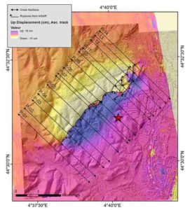 Surface displacement mapped using InSAR satellite imaging data. Along the fault, the ground was either raised (southeast) or collapsed (northwest). The star designates the epicentre. Credit: Jean-François RITZ et al