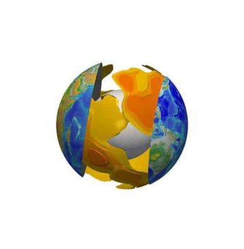Three-dimensional visualisation of partial melting at the base of tectonic plates. The orange iso-surfaces show the regions where, at a depth of between 100 and 300 km, the quantity of molten rock is greater than 0.2%. The white sphere in the centre of the globe represents the Earth's core. Credit © Stéphanie Durand, Laboratoire de géologie de Lyon: Terre, planètes et environnement (CNRS/ENS de Lyon/Université Claude Bernard Lyon 1).