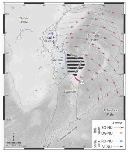 Final model for the East African Rift System. Hashed lines indicate newly discovered broad deforming zone. Arrows represent predicted tectonic plate motions. ABFZ—Andrew Bain Fracture Zone; IFZ—Indomed Fracture Zone; RSZ—Ranotsara shear zone. Figure created by D.S. Stamps.