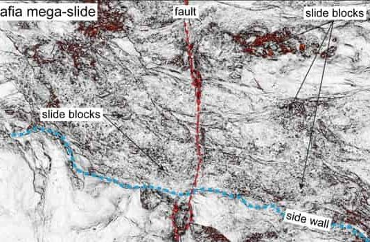 The figure shows a portion of the Mafia mega-slide imaged by a time-slice extracted from 3-D seismic reflection data (coherence attribute). Credit: Data courtesy of Royal Dutch Shell