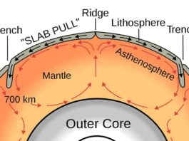 A graphic showing the convective heat cycle (red arrows) that drives plate tectonic motion (black arrows) on Earth. Heat flows toward subduction zones through the uppermost mantle layer, the asthenosphere. A computer model from Rice University finds that the asthenosphere can locally drag plates along with it rather than acting exclusively as a brake on plate movements as had been widely believed. (Image courtesy of Surachit/Wikimedia Commons)