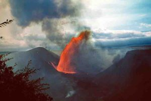 A lava fountain during the 1959 eruption of Kilauea Iki. Credit: USGS