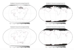Distribution of snow and ice in winter and summer on Aurica (left) and Amasia. Credit: Way et al. 2020