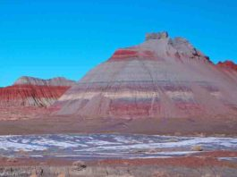 The colorful banded Tepees are part of the Blue Mesa Member, a geological feature about 220 million to 225 million years old in the Chinle Formation in Petrified Forest National Park in Arizona. Credit: NPS