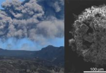 Volcanic plume associated with the April-May 2010 eruption of Eyjafjallajökull volcano (Iceland) and Scanning Electron Microscope image of a typical ash cluster made of micrometric volcanic particles collected on an adhesive paper during fallout. © UNIGE, Costanza Bonadonna