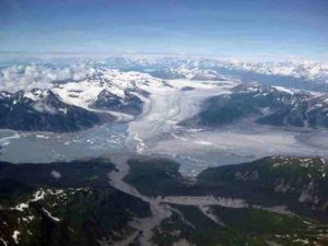 Glaciers such as the Yakutat in Southeast Alaska, shown here, have been melting since the end of the Little Ice Age, influencing earthquakes in the region. Credit: Sam Herreid