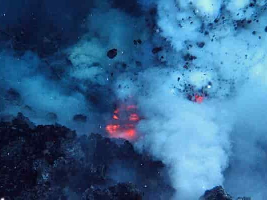West Mato Volcano erupting in 2009, courtesy of the National Oceanic and Atmospheric Administration.