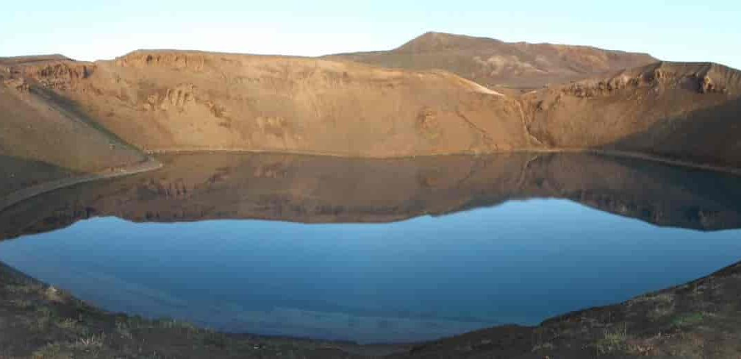 Viti Crater (formed in the 1724 event), where the Iceland Deep Drilling Project accidentally drilled into magma in 2009. They were drilling there originally to explore the potential for geothermal energy. Credit: Shane Rooyakkers.