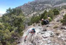 From left, University of Wyoming students Shane Scoggin, Adam Trzinski and Jessie Shields are part of new research investigating crustal melting in western North America. Here, they examine igneous rocks in the Snake Range of Nevada. Credit: Jay Chapman