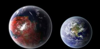 An artistic representation of the potentially habitable planet Kepler 422-b (left), compared with Earth (right). Credit: Ph03nix1986 / Wikimedia Commons