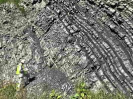 Boriana Kalderon-Asael conducts field work at a Middle-Upper Ordovician outcrop near Reedsville, Penn. Credit: Ashleigh Hood