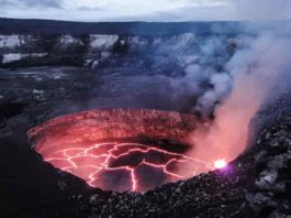 A view of Kīlauea's summit lava lake. The lava lake is contained within a crater, which is set within the larger Halema'uma'u Crater. New research aims to understand the activity that led to the eruption in 2018 in Kīlauea's lower East Rift Zone. Credit: USGS